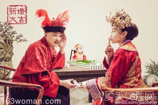 中式婚纱礼服 包贝尔终于还了一个婚礼给包文婧